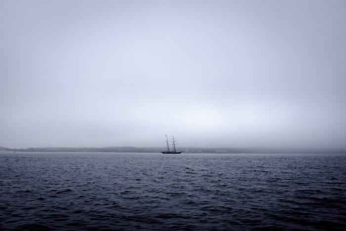 12. A ghostly ship making a foggy crossing off Nantucket.
