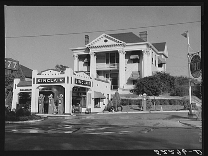 15. In order to provide for the residents that did own vehicles, many towns were equipped with gas stations. Taken in 1939, this Sinclair station was located in Jackson.