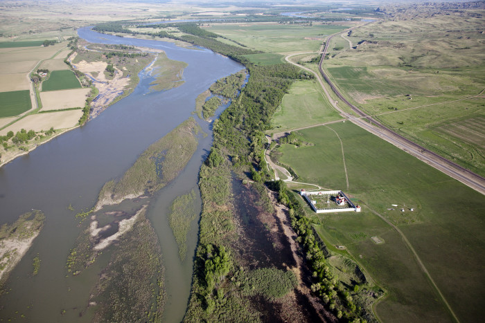 6. A great photo of the Fort Union Trading Post by the Missouri River.