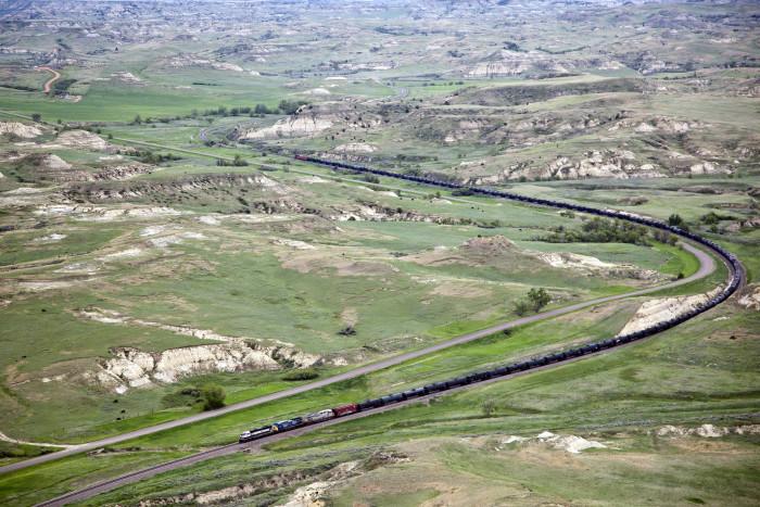 7. What a shot: a crude oil train near Medora and Beach, ND.
