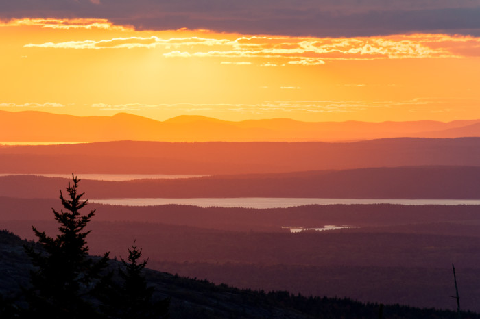 14. The sunset view from the summit of Cadillac Mountain in Acadia National Park.