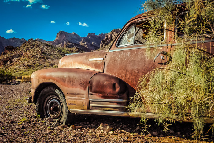 2. Nature has started to reclaim this car as it sits abandoned in Eldorado Canyon.
