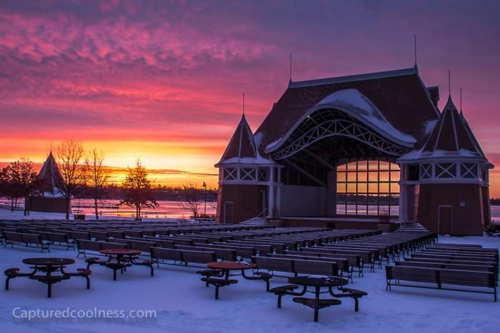4. The sunrise on the Lake Harriet Bandshell is amazing.