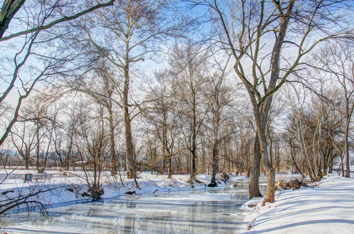 15) Owens Creek seems quiet and tranquil in this eye-catching photo.