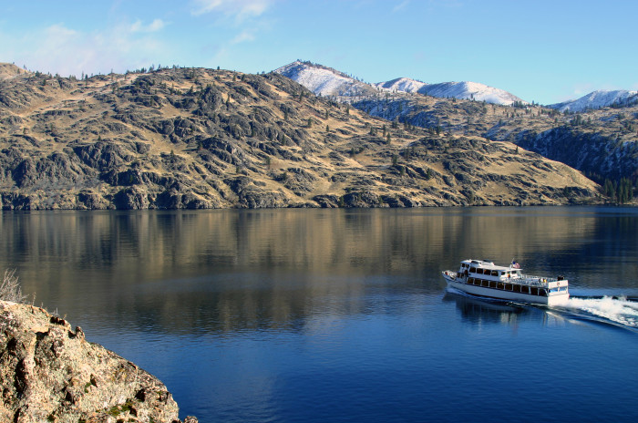 """11. A perfectly timed shot of """"Lady of the Lake"""" traveling across Lake Chelan."""