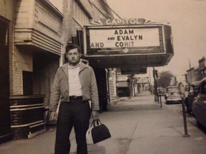 12. This man takes a stroll in downtown Iowa City in 1951.