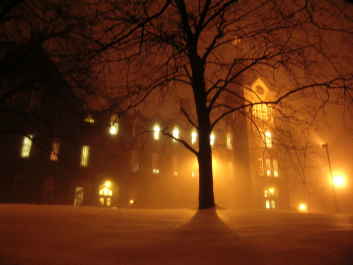 15. Boynton Hall at WPI in Worcester on a chilly winter evening.