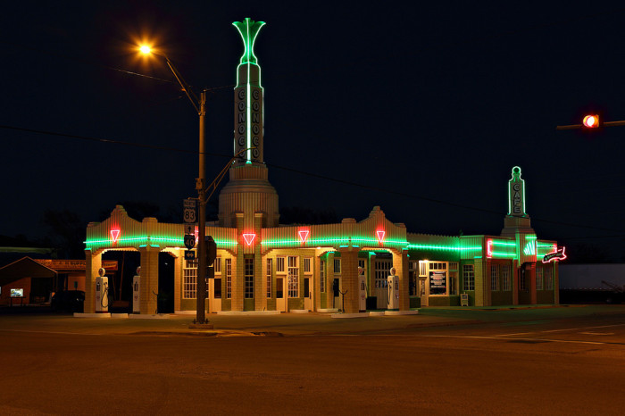 15. Drive along the old route 66 in the Panhandle! Pictured below is the Tower Station in Shamrock.