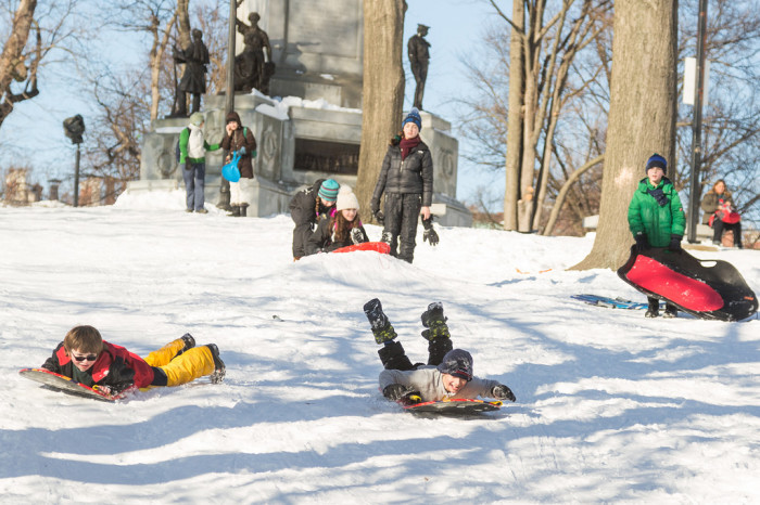 4. Boston Common. You don't have to go far out of the city to get your sledding fix! There's plenty of room and snowy hills right in the middle of Boston.