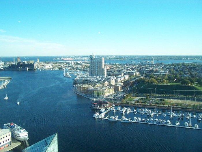 3) Baltimore City from up above.