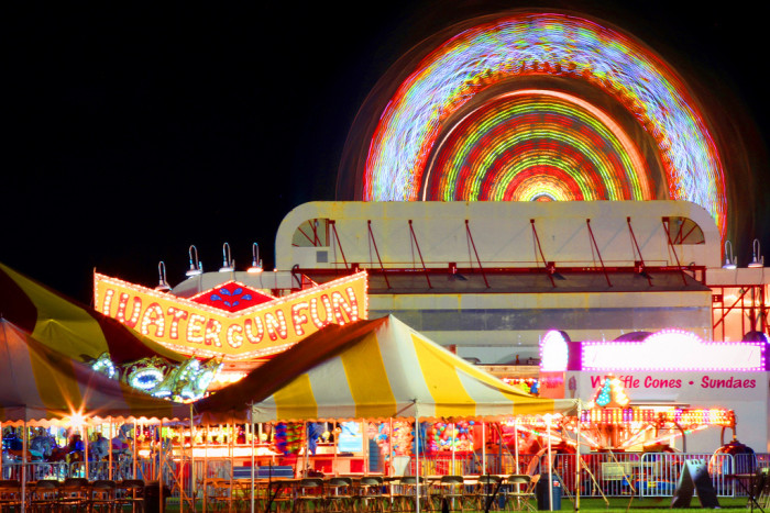 11. The Acton Town Fair glitters with bright lights.