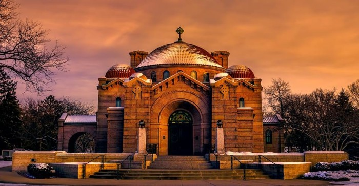 20. The Lakewood Memorial Chapel is a cinematic dream in the sunset.