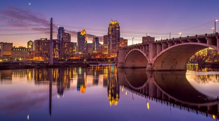 3. Minneapolis looks stunning in the evening light.