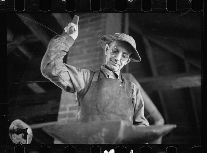 4) A blacksmith in action was photographed in Prince Georges County.