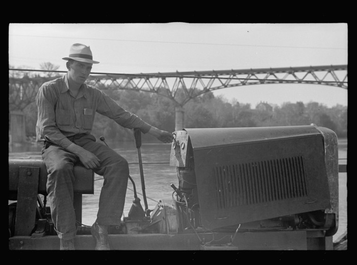 14) This guy is operating a ferry that crosses the Potomac River, near Sharpsburg.