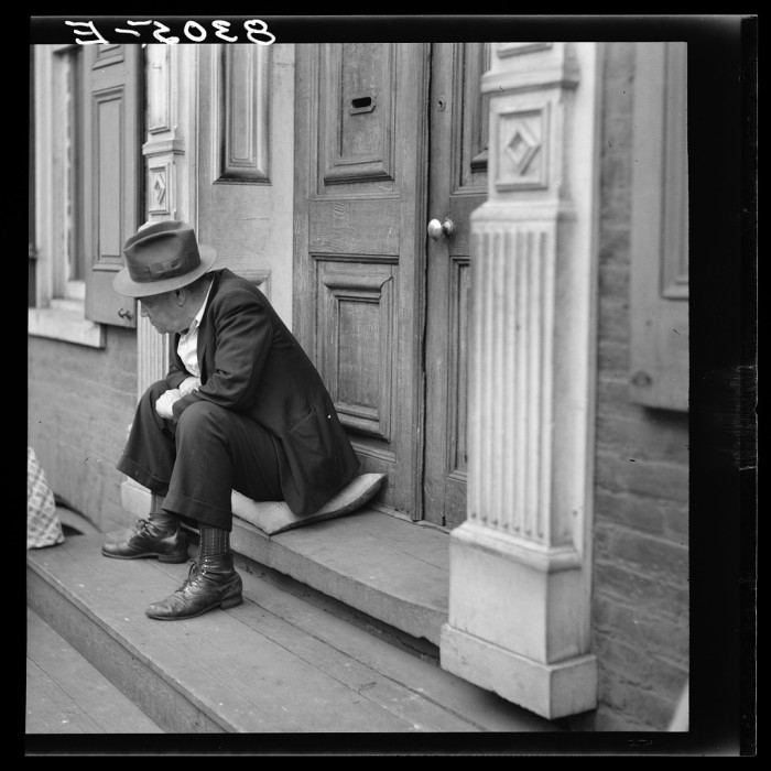 9) This dapper guy is sitting on a stoop in Hagerstown.
