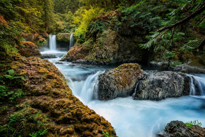 12. Here's a unique perspective of Spirit Falls, which flows along the Little White Salmon River near the Oregon border.