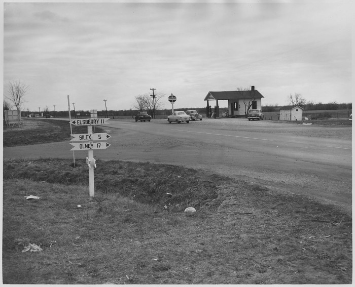 2.	An intersection and Standard service station on Highway 61 in rural Missouri, 1956.