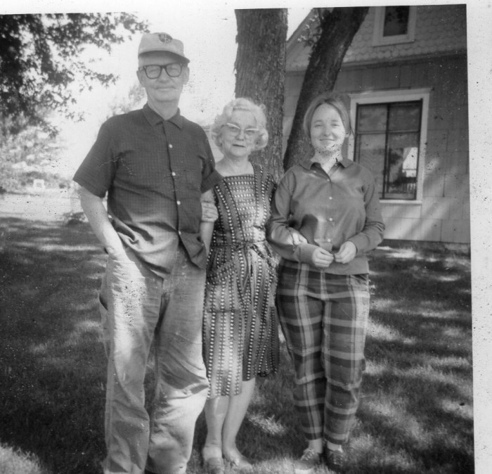 "3.	""My Uncle Jim and Aunt Dort in mid-60s, Dunlap, Missouri. My wife is standing next to Aunt Dort."" Robert Huffstutter"