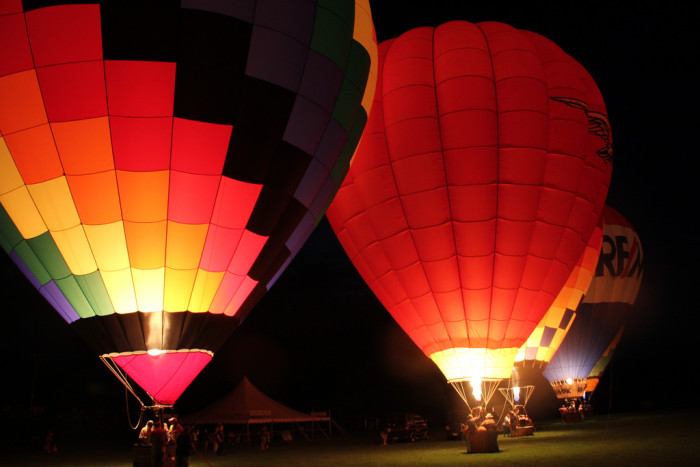 1. Hot air balloons geting ready to float off into the night at the 2015 Green River Festival.