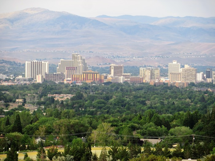 5. A beautiful skyline view of Reno, Nevada from Juniper Ridge. The city appears to be so tranquil during the day.