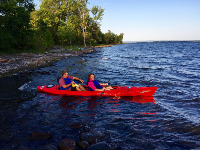 9.  Paddle in a canoe.