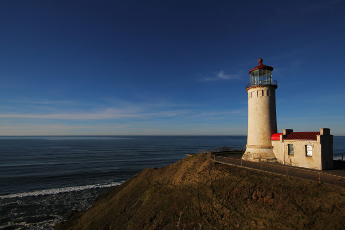 6. A gripping shot of Cape Disappointment Lighthouse, captured by the mouth of the Columbia River.