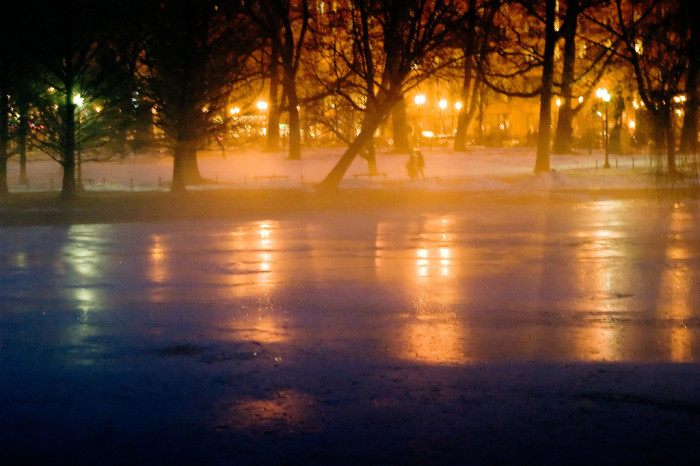 13. An icy night covers the frozen Boston Public Garden with a haunting mist.