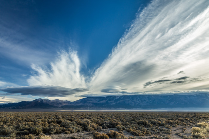 9. Magnificent clouds in the Nevada desert.