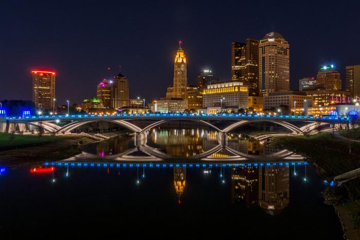2. Columbus cityscape at nightfall
