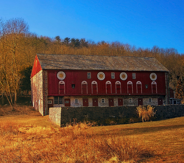1. It's not easy to find barns as beautiful as the ones in Pennsylvania, often covered in traditional hex symbols like this one in Bucks County.