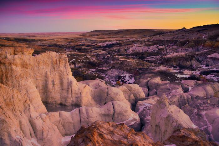 13. A vivid sunrise over the vivid Paint Mines