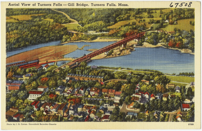 13. An old-fashioned aerial shot of Turners Falls.