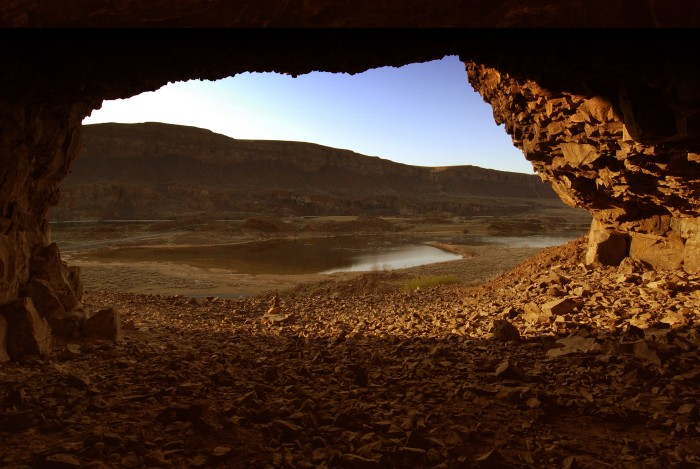 9. Looking out from the inside of Lake Lenore Caves, with the sun lighting the scene just right.