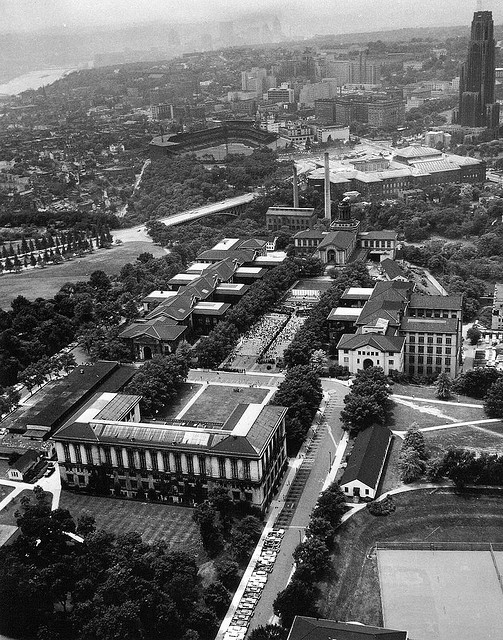 6. Carnegie Mellon University has been a major landmark in Pittsburgh for longer than anyone can remember. Here it stands in 1959. You can see University of Pittsburgh's Cathedral of Learning looming in the background.