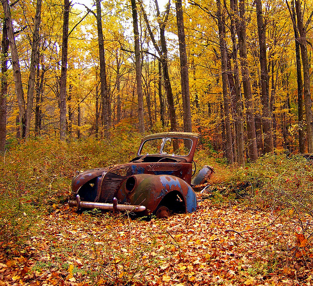 15. When you're living in a place that's not overrun with people, the possibility of exploration is always at your fingertips. You can discover treasures like this abandoned car, which was photographed near the Delaware River Gap.