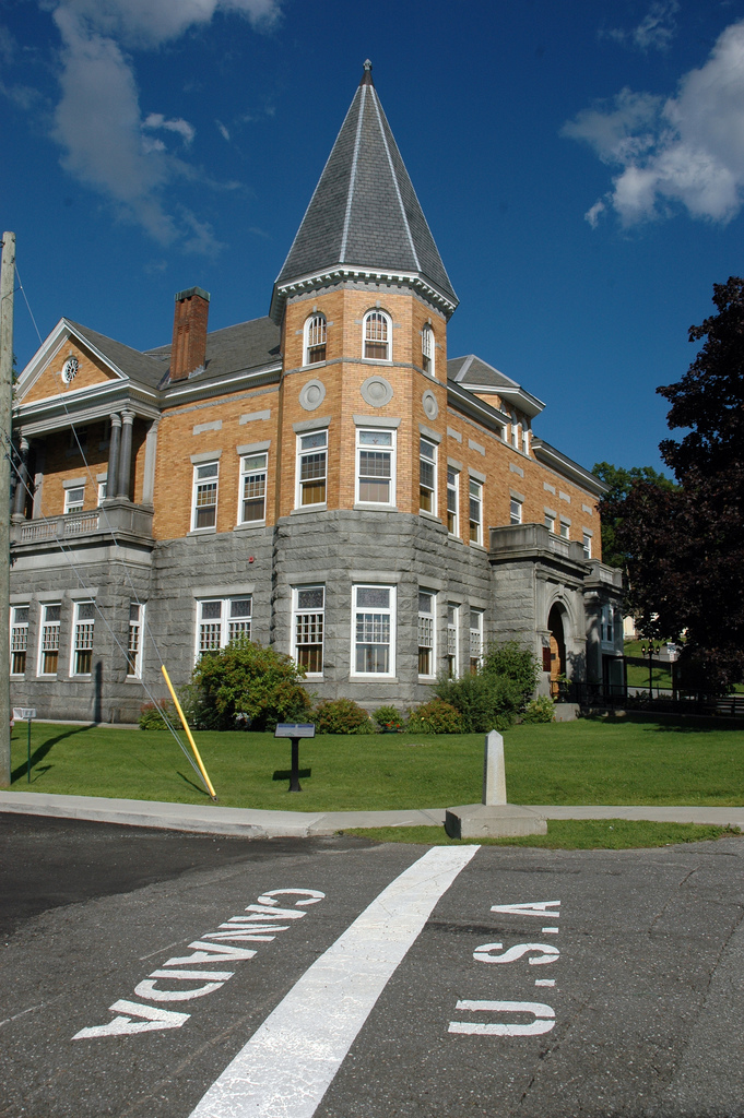 18.  There is a library with an entrance in Vermont and an exit in Canada.