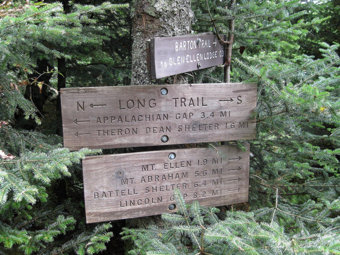 The Long Trail has signs posted to keep you on course.