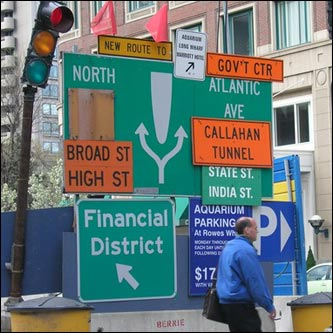2. Driving in Boston. If the confusing street layout and road-rage ridden drivers don't get you, the baffling signage might just send you careening into the Charles River.