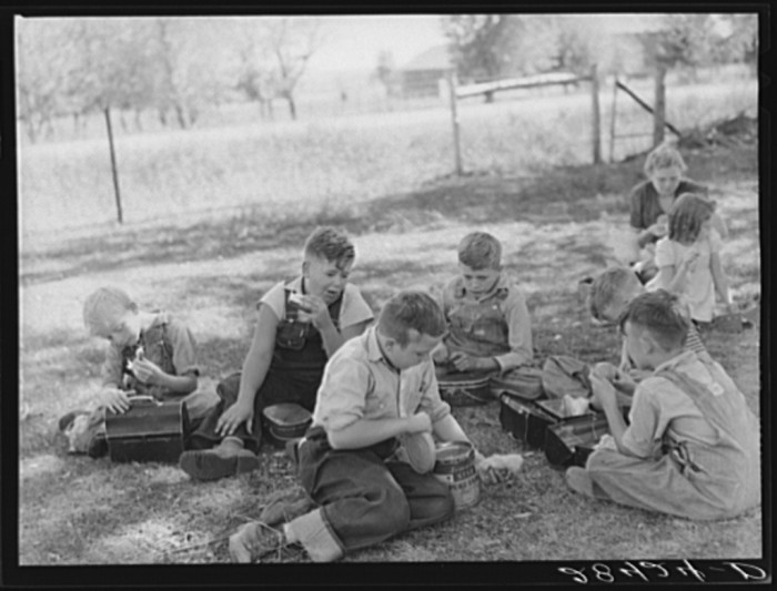 3. With no hot-lunch program, these schoolchildren in Grundy County eat their lunch on the schoolhouse lawn.