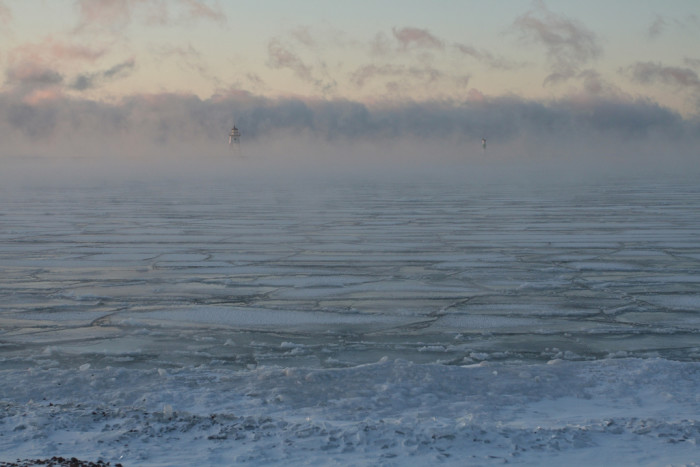 14. In -15 degree weather, the ice in front of the Grand Marais Lighthouse looks spectacular.