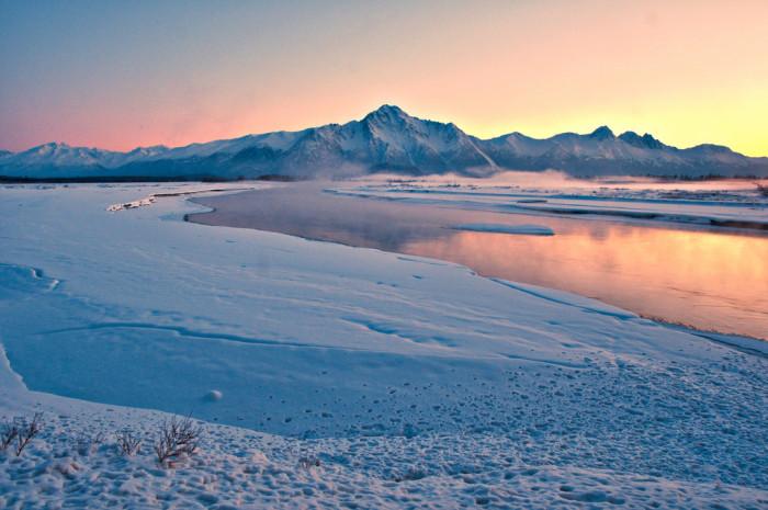 9) The Matanuska River flowing toward Pioneer Peak in the distance.