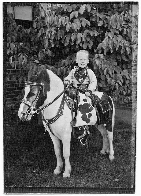 4. A young boy poses atop a pony at Camp Hill in 1957.