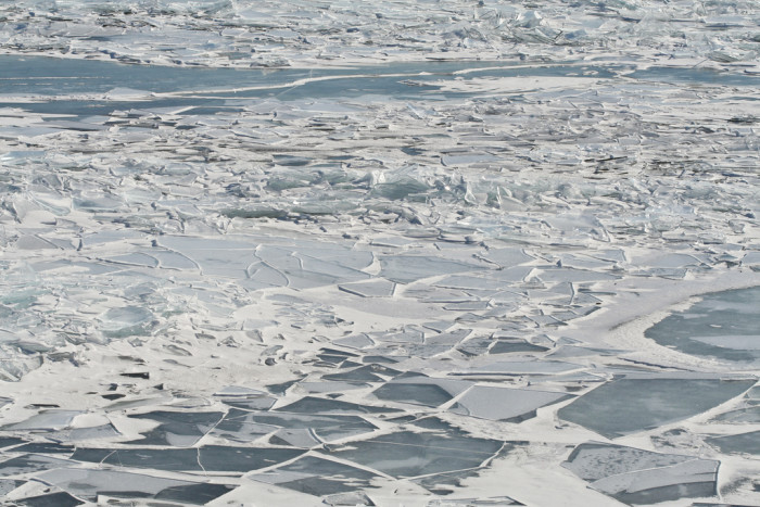 12. The ice patterns on the lake are beautiful from the ice slab mosaics to the swirling paths.