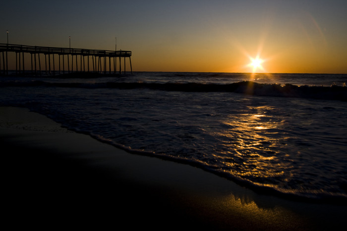 1) The sun greeting the sea at Ocean City.