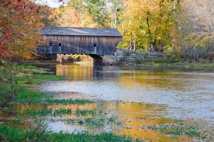8. A covered bridge nestled in the woods. This one is Hemlock Bridge near Fryeburg.