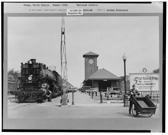 "2. ""Railroad station, Fargo, North Dakota"""
