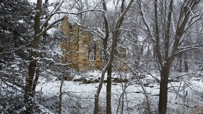 4. The ruins of this limestone house in Tama County look eerily beautiful in the light winter snow.
