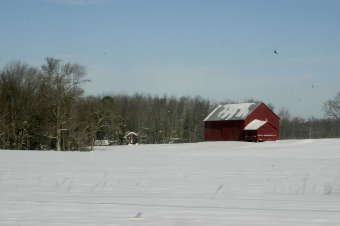 10) This quaint barn in Southern Maryland is absolutely charming against the snow.
