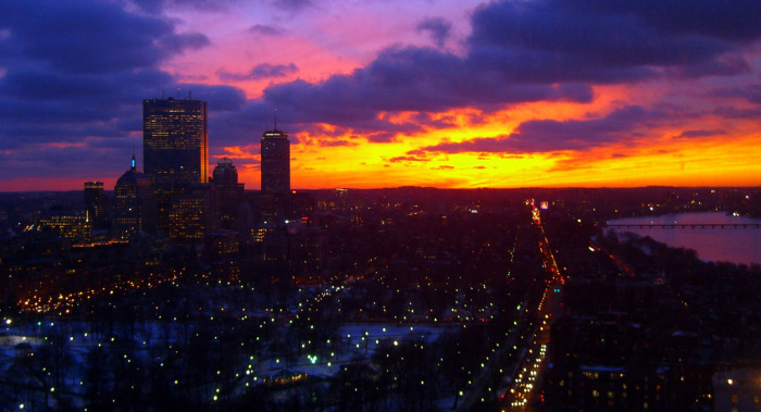2. A winter sunset over the city of Boston.